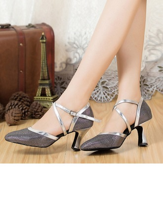 Women's Sparkling Glitter Sandals Sneakers With Ankle Strap Dance Shoes