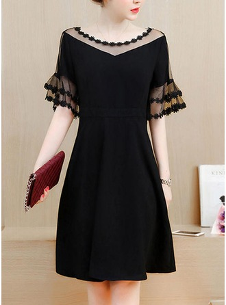 Cotton With Lace Knee Length Dress