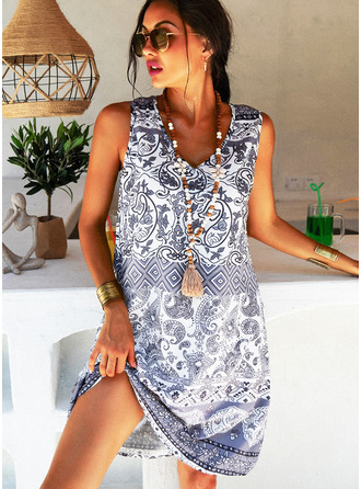 Print Shift V-Neck Sleeveless Midi Boho Casual Vacation Tank Dresses