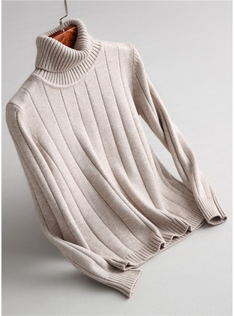 Plain Knit Turtleneck Sweater Kazak