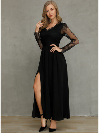 Polyester/Spandex With Lace/Solid/Slit Maxi Dress