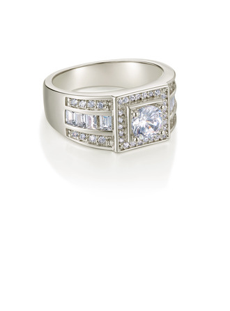 Sterling Silver Cubic Zirconia Vintage Round Cut Mother's Rings -