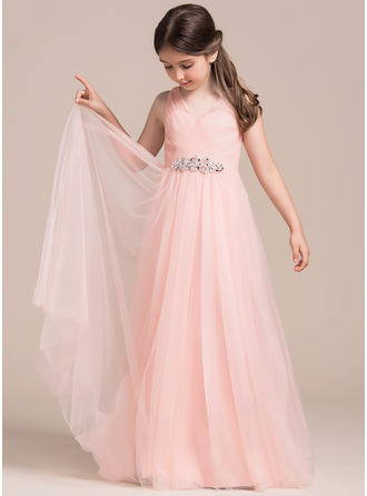 Floor-length Flower Girl Dress - Tulle Sleeveless V-neck With Ruffles Beading Sequins