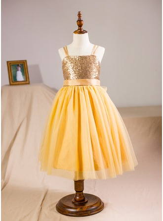 Ball Gown Knee-length Flower Girl Dress - Tulle/Sequined Sleeveless Straps With Bow(s)