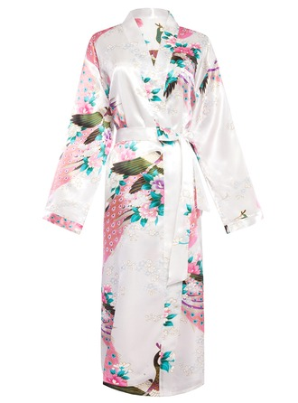 Bride Bridesmaid Polyester charmeuse With Knee-Length Kimono Robes