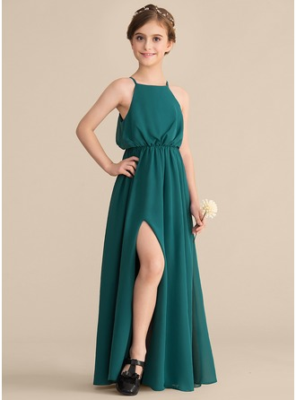 Square Neckline Floor-Length Chiffon Junior Bridesmaid Dress With Split Front