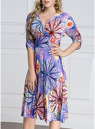 Ice Silk With Stitching/Print Knee Length Dress