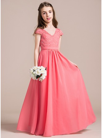 A-Line/Princess Floor-length Flower Girl Dress - Chiffon/Lace Short Sleeves V-neck