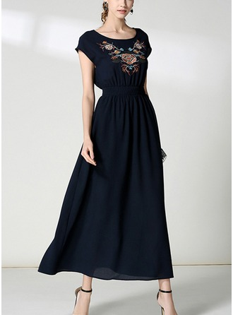 Chiffon With Embroidery/Crumple Asymmetrical Dress