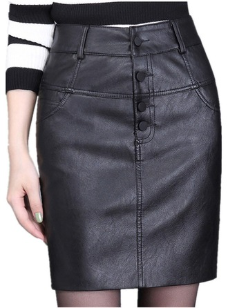 Pencil Skirts Above Knee Plain Leather/PU Skirts