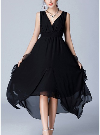 Chiffon With Crumple/Ruffles Asymmetrical Dress