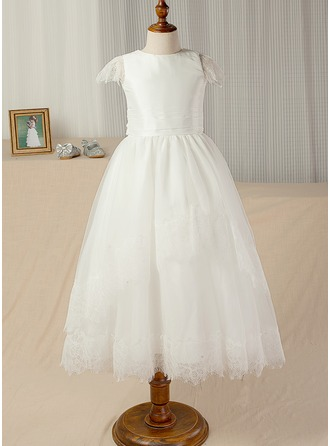 A-Line/Princess Scoop Neck Ankle-Length Tulle Junior Bridesmaid Dress With Sash