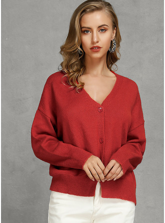 Chunky knit Solid Polyester V-neck Cardigans Sweaters