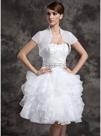 Short Sleeve Organza Wedding Wrap