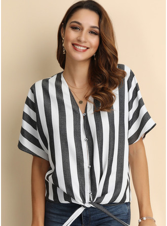Short Sleeves Cotton Blends V Neck Blouses