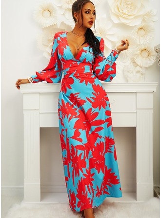 Floral Print Sheath V-Neck Long Sleeves Lantern Sleeve Maxi Elegant Party Dresses