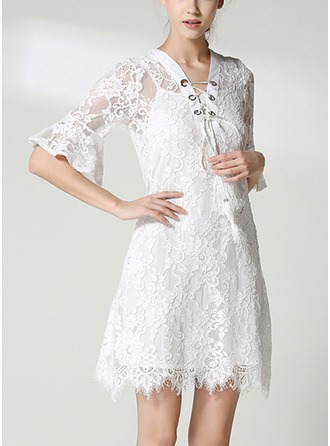 Lace With Lace/Hollow/Crumple/See-through Look Above Knee Dress