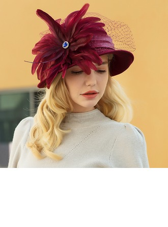 Ladies' Classic/Elegant/Simple Wool/Net Yarn With Feather Bowler/Cloche Hat