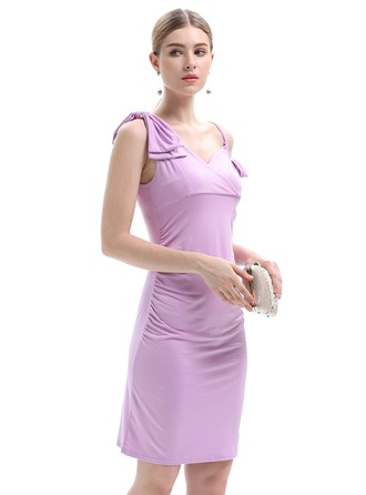 Cotton Blends With Stitching Above Knee Dress