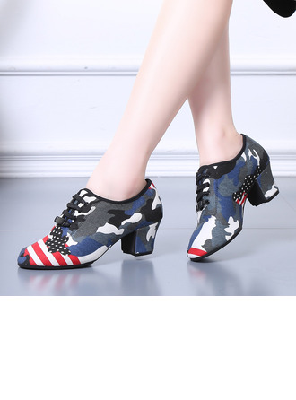 Women's Cloth Heels Latin Modern Belly With Lace-up Dance Shoes