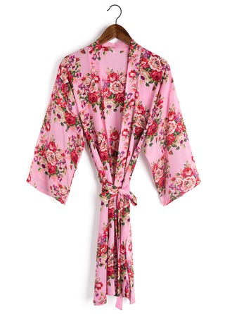Bride Bridesmaid Cotton With Short Floral Robes