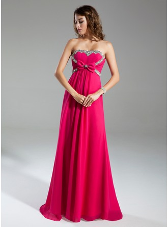 Empire Sweetheart Sweep Train Chiffon Holiday Dress With Ruffle Beading Bow(s)