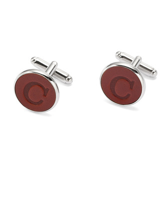 Personalized Vintage Formal Mens Stainless Steel Leather Cufflinks