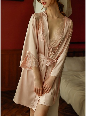 Non-personalized Polyester Bride Bridesmaid Blank Robes Lace Robes