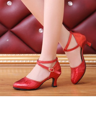 Women's Leatherette Heels Ballroom Swing With Buckle Sequin Dance Shoes