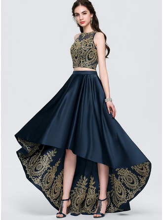 Scoop Neck Asymmetrical Satin Prom Dresses With Lace Beading