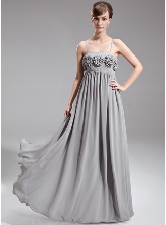 Empire Floor-Length Chiffon Maternity Bridesmaid Dress With Flower(s)