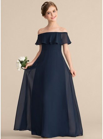Off-the-Shoulder Floor-Length Chiffon Junior Bridesmaid Dress With Cascading Ruffles