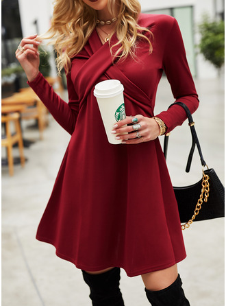 Solid Sheath Round Neck Long Sleeves Midi Casual Little Black Dresses