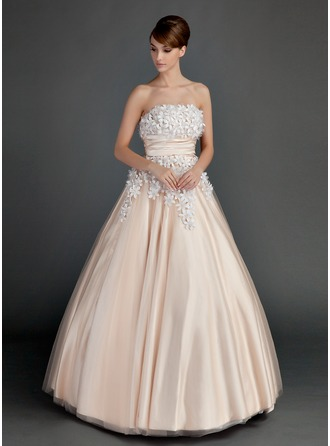 Ball-Gown Strapless Floor-Length Tulle Prom Dress With Ruffle Beading Flower(s)