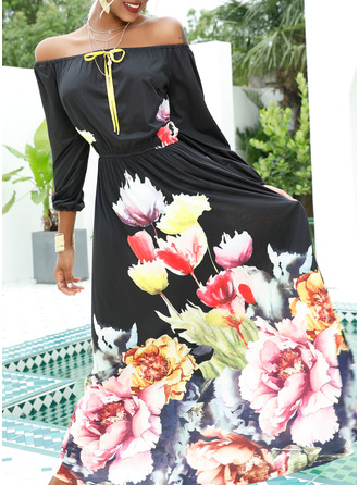 Floral Print A-line Off the Shoulder 1/2 Sleeves Maxi Elegant Party Skater Dresses