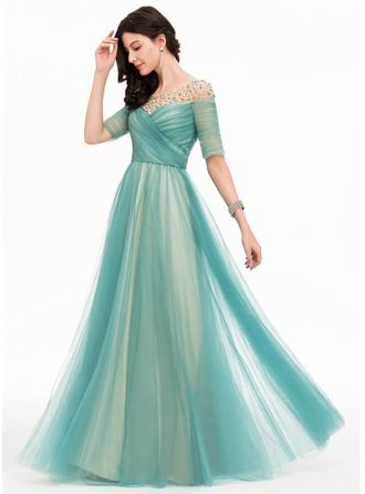 Scoop Neck Floor-Length Tulle Prom Dresses With Beading