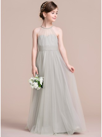Scoop Neck Floor-Length Tulle Junior Bridesmaid Dress With Ruffle