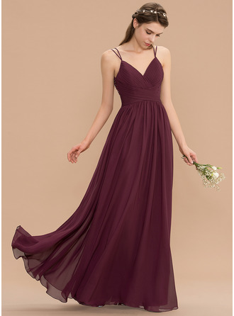 V-neck Floor-Length Chiffon Lace Bridesmaid Dress With Ruffle Beading Sequins