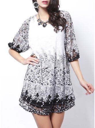 Lace With Print Above Knee Dress