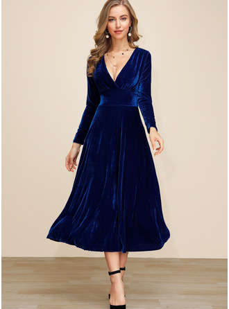 Polyester With Crumple/Solid Midi Dress