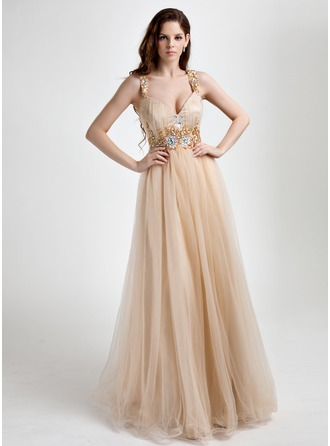 A-Line/Princess V-neck Floor-Length Tulle Prom Dress With Ruffle Beading