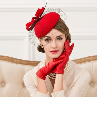 Dames Style Vintage Coton avec Feather Chapeaux de type fascinator