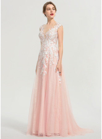 Scoop Neck Sweep Train Tulle Prom Dresses