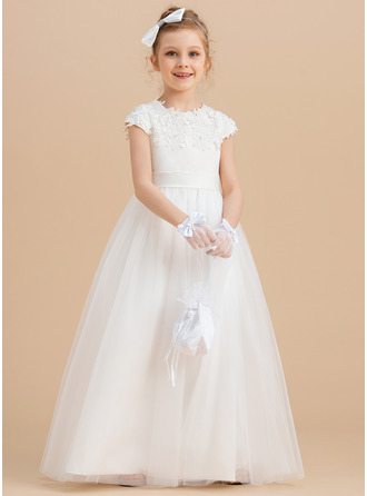 Ball-Gown/Princess Floor-length Flower Girl Dress - Satin Tulle Sleeveless Scoop Neck With Beading Appliques