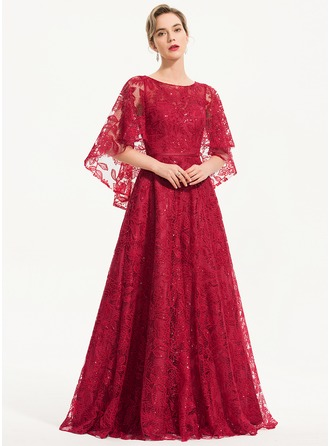 Scoop Neck Floor-Length Lace Evening Dress