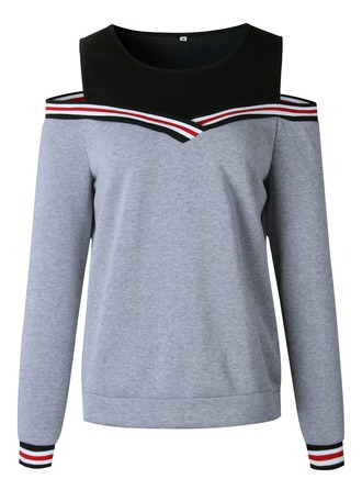 Color Block Striped Polyester Sweatshirt ()