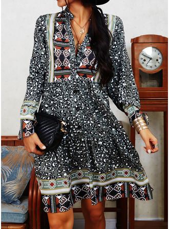 Leopard Print Shift V-Neck Long Sleeves Midi Boho Casual Tunic Dresses