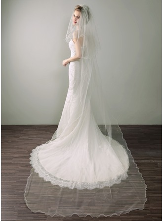 Two-tier Scalloped Edge Chapel Bridal Veils With Lace