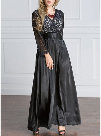 Lace/Satin mit Lace/Stitching Maxi Kleid