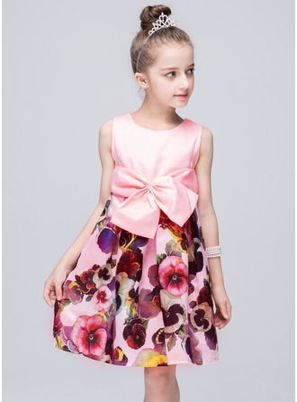 A-Line/Princess Knee-length Flower Girl Dress - Polyester Sleeveless Scoop Neck With Bow(s)